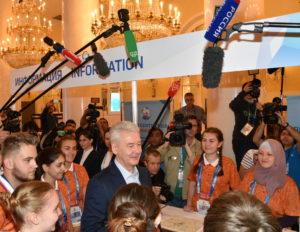 Сергей Собянин и Ольга Колева открыли первый Городской пресс-центр Чемпионата мира по футболу