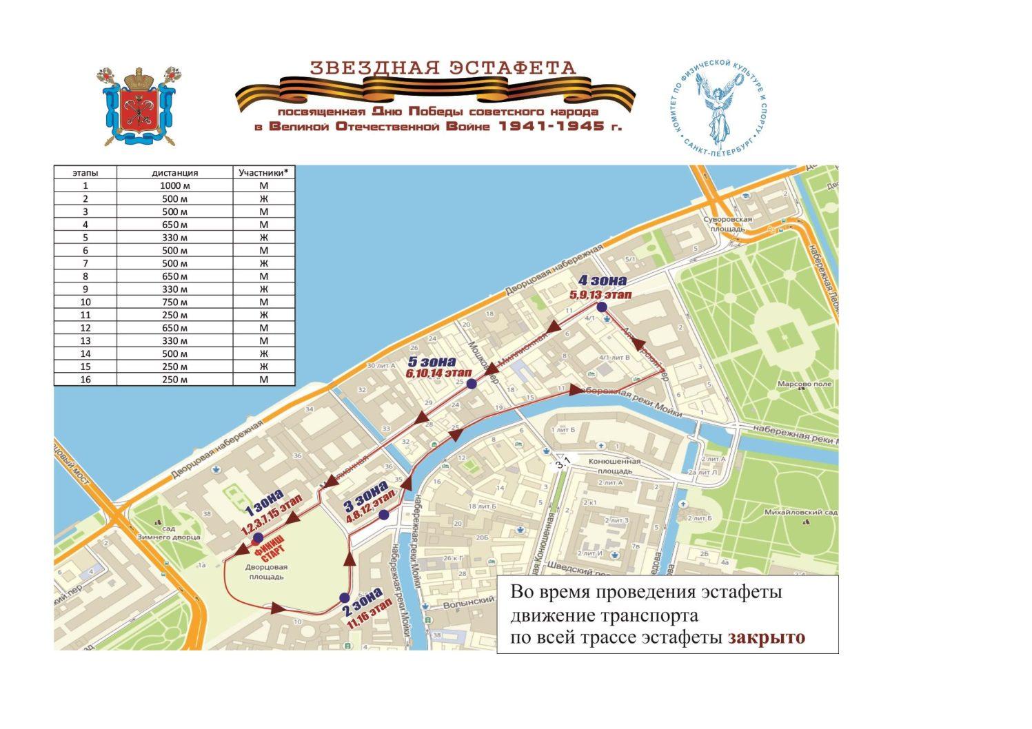 Традиционные легкоатлетические эстафеты стартуют 2 мая на Дворцовой